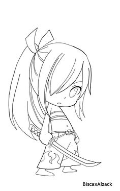 Chibi Erza Lineart by BiscaxAlzack