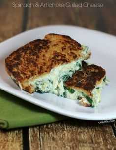Spinach & Artichoke Grilled Cheese! #grilledcheesemonth