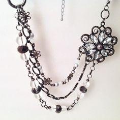 Vintage style silver broach statement necklace bib by MynisaUnique, $32.99