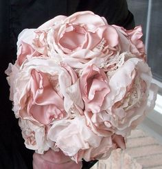 Shabby Chic Fabric Bouquet/Bridesmaids by apromisemadetoday