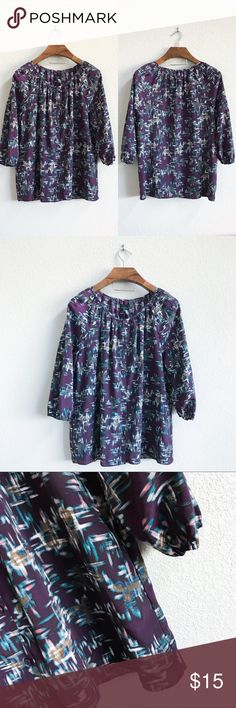 Attention Abstract Print Peasant Top Pre-loved but in great condition! No obvious signs of wear such as stains, snags, or tears. (0296)   PRODUCT DETAILS: •Size: Extra Large •Colors: Purple, Blue, White, Pink, Taupe •Made in China •Measurements: Chest-23inch Length-28inch •100% Polyester •Machine Wash •Comes with extra button •Button Down / Up •Geometric Abstract Print •Elastic Band around collar and wrists •Three-Quartet 3/4 Sleeve •Scoop / Crew Neck  Tags: blouse shirt work church…