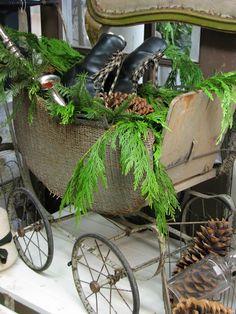 Christmas Decor . Vintage Baby Buggy . Greens . isabellang.blogspot.com