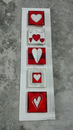 M Beneke fused glass tile hearts collage
