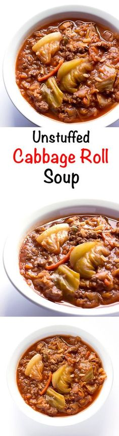 Under 250 calories for a big 2 cup serving! Unstuffed Cabbage Roll Soup has all the great flavors of traditional cabbage rolls, without all the fuss. It's hearty, beefy, and full of veggies.