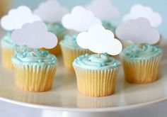 Blue baby boy shower cupcakes with cloud party cut outs Baby Shower Cakes, Fiesta Baby Shower, Baby Boy Shower, Cloud Party, Cute Baby Shower Ideas, Baby Shower Themes, Baby Sprinkle, Sprinkle Cupcakes, Sprinkle Shower