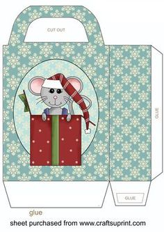 Blue christmas mouse gift bag 4 on Craftsuprint designed by Stephen Poore -