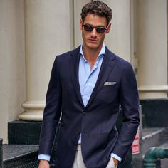 Lightweight comfort with a blend of Colombo cashmere and silk fabric: The blue Havana Tailored Jacket, Suit Jacket, Lakme Fashion Week, Silk Fabric, Mens Fashion, Daily Fashion, What To Wear, Cashmere, Menswear