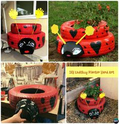 DIY Ladybug Tire Planter - DIY Tire Planter Ideas #Garden