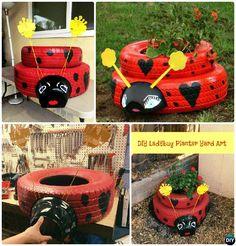DIY Ladybug Tire Planter - DIY Tire Planter Ideas #Garden