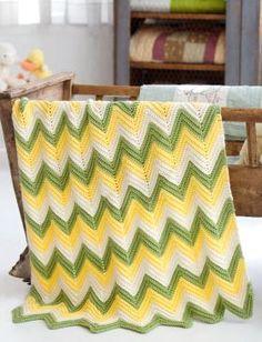 Детское цветное одеяло крючком с узором зигзаг