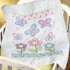 Butterflies are some of the prettiest and most popular designs used on spring quilt patterns, so a kit like this is a quilter's dream! Make a new baby quilt for a nursery or lay it out on the couch to add some freshness to your home decor.