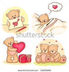stock vector : Beautiful cartoon collection of cute valentine Teddy Bears.