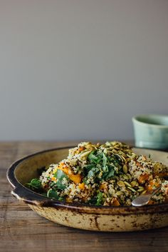 Ginger, roasted pumpkin and quinoa salad with mint, chilli and lime.