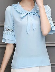 women chiffon blouse 2017 new fashion cute girl's pure color shirt casual plus size short sleeves chiffon blusas 30 Sleeves Designs For Dresses, New Fashion, Womens Fashion, Blouse And Skirt, Mode Hijab, Beautiful Blouses, Dress Patterns, Crochet Flower Patterns, Blouse Designs
