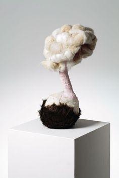 "Gabríela Fríðriksdóttir, ""Inside the Core, Skulptur 15"" (2006) Wool, fabric, plaster, linen, 52 x 23 x 23 cm"