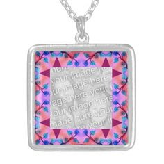 Pretty pink red flower abstract photoframe necklaces