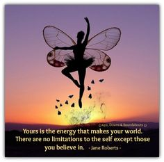 Yours is the energy that makes your world.  There are no limitations to the self except those you believe in.   - Jane Roberts  www.lovehealsus.net