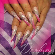 Nail Art Gallery - pink n' silver