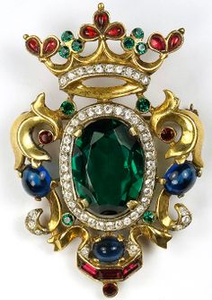 Trifari Sterling 'Alfred Philippe' Regal Crown and Emerald Shield Pin