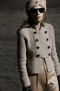 Garment Detail - a very simple style with a subtle military look worked in moss stitch...very effective and easy to wear