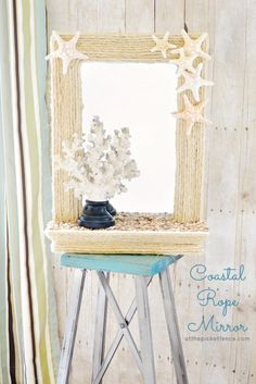 diy coastal rope mirror makeover, crafts, decoupage, All this mirror needed was a little rope and shells to turn it into a true beach beauty Seashell Crafts, Beach Crafts, Summer Crafts, Rope Crafts, Seashell Wreath, Beach House Decor, Diy Home Decor, Rope Mirror, Starfish Mirror