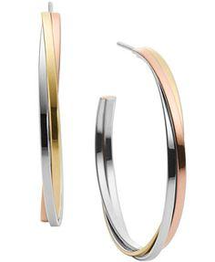 Michael Kors Tri-Tone Twisted Hoop Earrings | macys.com