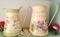 SHABBY VINTAGE CHIC METAL PITCHER JUG ROSES LILAC WEDDING DISPLAY FLOWER VASE