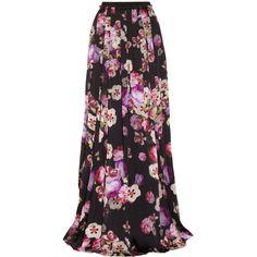 Giambattista Valli Floral-print silk-charmeuse maxi skirt ($810) ❤ liked on Polyvore featuring skirts, bottoms, maxi skirts, saias, maxi, pink, long floral maxi skirt, long skirts, multi color maxi skirt and long maxi skirts