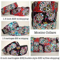 Day of the dead sugar skulls dog collar by MoxinoCollars on Etsy, $20.00