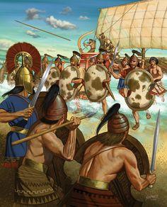 Una nave achea attracca sulla spiaggia di Troia, ma i Troiani sono già in posizione difensiva.