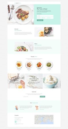 Cafe and Restaurant Responsive Landing Page Template The Effective Pictures We Offer You About Web Design news A quality picture can tell you many things. Minimal Web Design, Web Design Grid, Food Web Design, Web Design Mobile, Design Café, Menu Design, Flat Design, Design Model, Website Design Inspiration