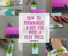 Learn how to personalize a key fob with a heat press and Glitter Flake heat transfer material (aka HTV & heat transfer vinyl).