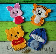 Satz von 4 Märchenbuch Fingerpuppen  inspiriert von Pooh und
