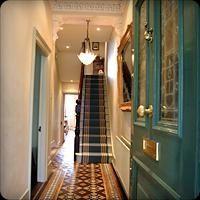 Hall and stairs Edwardian Hallway, Edwardian House, Victorian Terrace, Hall Tiles, Tiled Hallway, Hallway Paint, Victorian Interiors, Victorian Homes, Victorian Kitchen