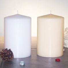 "Our classic 4"" x 6"" Unscented Pillar Candle is an elegant choice for wedding receptions, church services or restaurants. It's available in White and Ivory and adds an exquisite flair to any table, bookshelf or mantlepiece. Available 4 per case.   Note: Customers may mix & match colors to obtain 1 - 5 case break price.  Note: Always exercise candle safety. Burn in a candle holder."