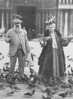 Monet with a pigeon on his head, and his wife Alice, Venice, 1908.