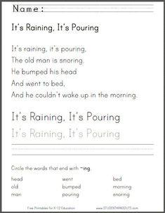 It's Raining, It's Pouring - Free printable nursery rhyme worksheets for kindergarten.