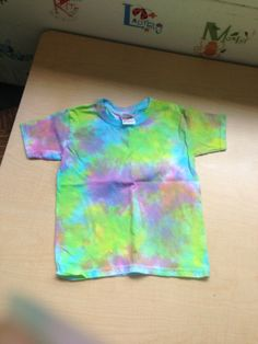 Tie Dying with toddlers - totally finished project.  This is a different shirt then the wet one in the other photo.