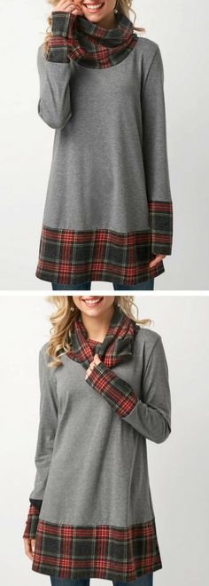 Patchwork Long Sleeve Cowl Neck Grey T Shirt.