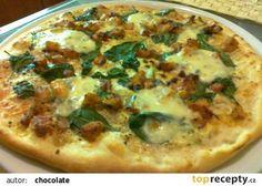 Pizza se smetanou, špenátem a kuřecím masem recept - TopRecepty.cz Pitta, Quiche, Vegetable Pizza, Cooking Tips, Toast, Food And Drink, Meals, Dinner, Breakfast