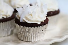 Gluten Free Coconut Fudge Cupcakes  with Whipped Vanilla Cream Frosting