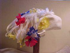 Vintage Authentic Yves Saint Laurent Straw Flower Hat
