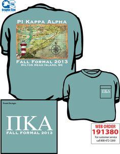 Hilton Head Pi Kappa Alpha design by James Theta Chi, Pi Kappa Alpha, Fraternity Rush Shirts, Greek Shirts, Hilton Head Island, Front Design, Beach Design, Formal, Shirt Ideas