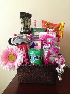 Birthday Gift Basket Birthday Gift Baskets, Diy Gift Baskets, Birthday Presents, Cute Gifts