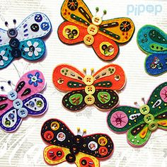 <3 Butterflies decorated with buttons and beads