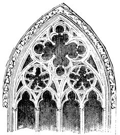 In architecture, tracery is the stonework elements that support the glass in a Gothic window. The term probably derives from the 'tracing floors' on which the complex patterns of late Gothic windows were laid out. There are two main types, plate tracery and the later bar tracery.
