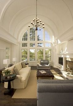 Willow Decor: Nantucket De Novo Style Here is a spectacular home designed by De Novo Architects in Minneapolis. They design gorgeous new residences with old world detailing, as well as phenomenal renovations. Style At Home, Barrel Vault Ceiling, Interior Architecture, Interior Design, Modern Interior, Design Salon, House Design Photos, White Rooms, Dream Rooms