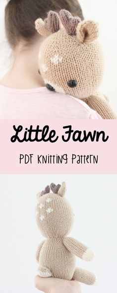 This knitting pattern includes detailed instructions, diagrams, and pictures on how to knit this super cute Little Fawn knitted children's toy. This project is a great gift idea for boys and girls. This fawn toy is knitted in the round on double pointed needles for a seamless knitting project, with only the ears sewn to the head separately.