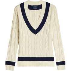 Polo Ralph Lauren Cotton Cable Knit Pullover ($215) ❤ liked on Polyvore featuring tops, sweaters, white, white cable knit sweaters, white v neck shirt, v-neck sweater, cotton v neck sweater and white v neck sweater