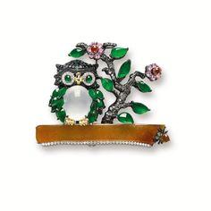 MULTI-COLOURED JADEITE, GEM-SET AND DIAMOND 'OWL' BROOCH, MASON TSAI